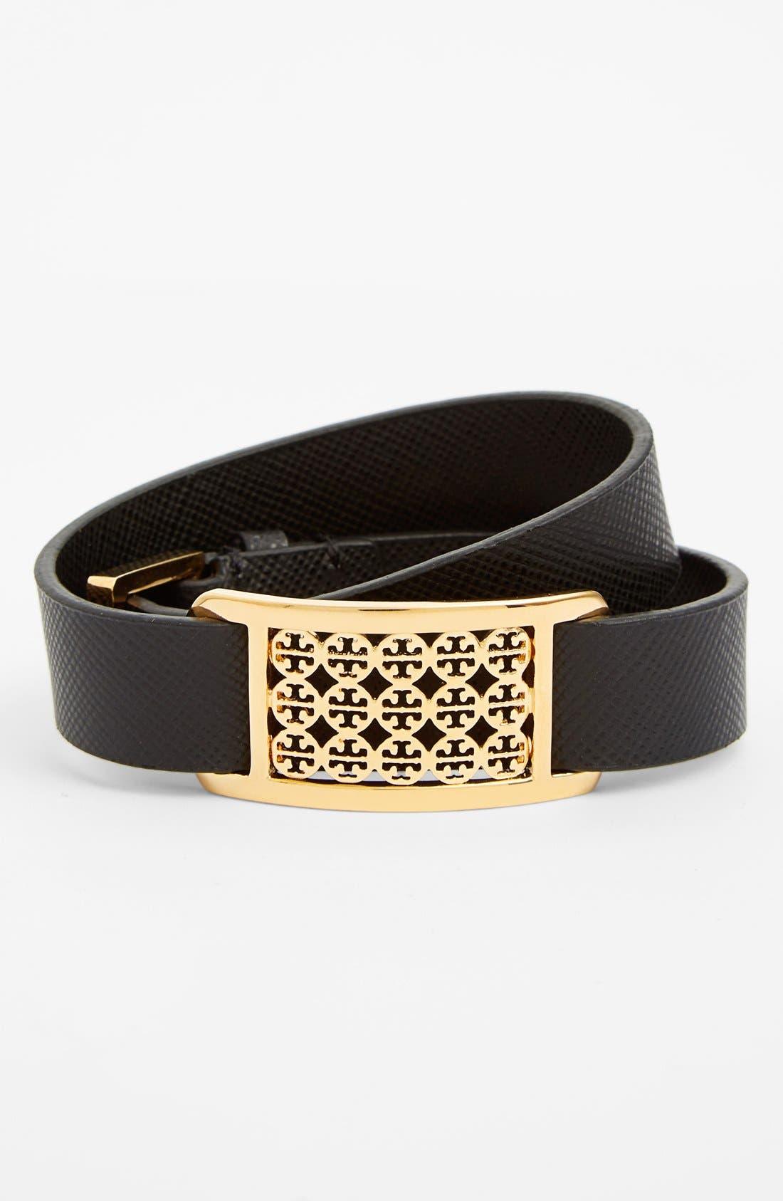 Main Image - Tory Burch 'Kinsley' Logo Plaque Leather Wrap Bracelet