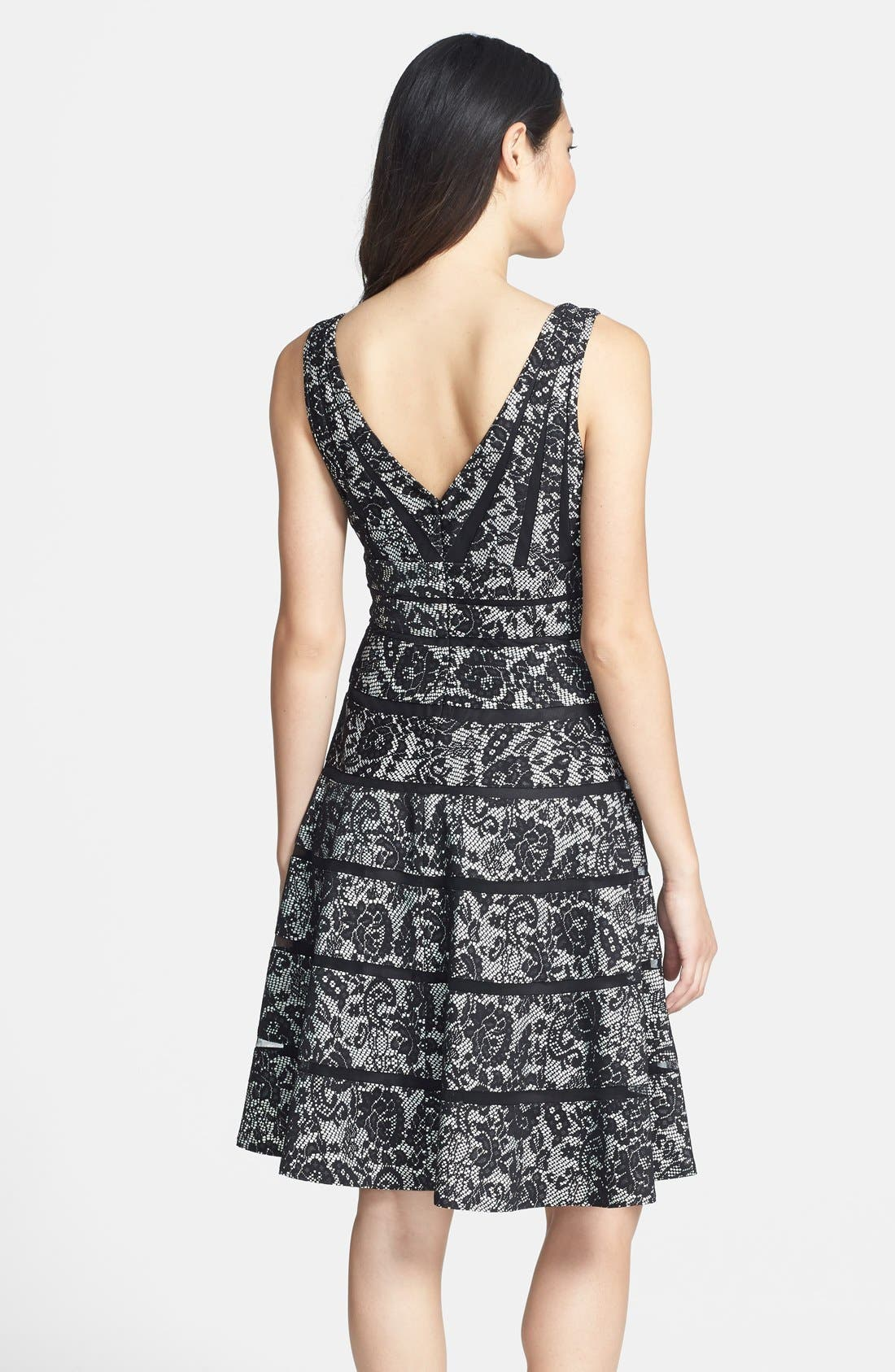 Alternate Image 2  - JS Collections Stripe Bonded Lace Fit & Flare Dress
