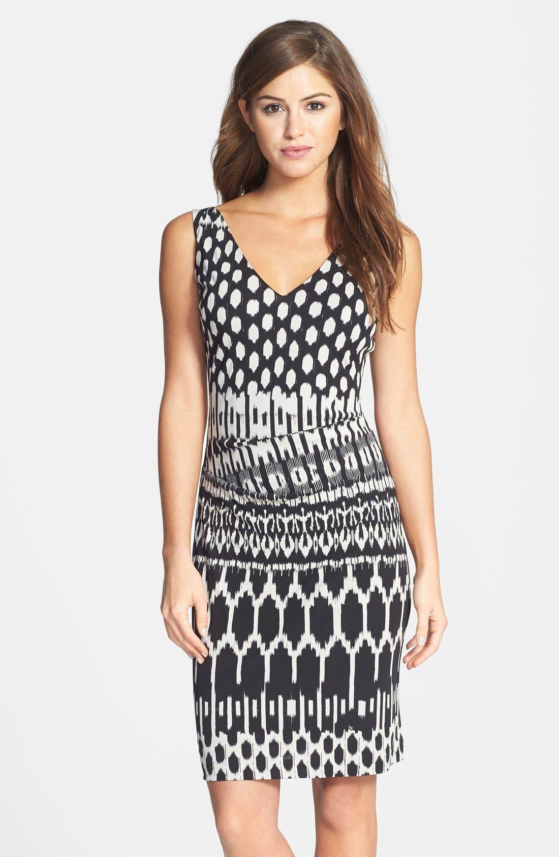 Alternate Image 1 Selected - Nicole Miller Tucked Print Jersey Dress