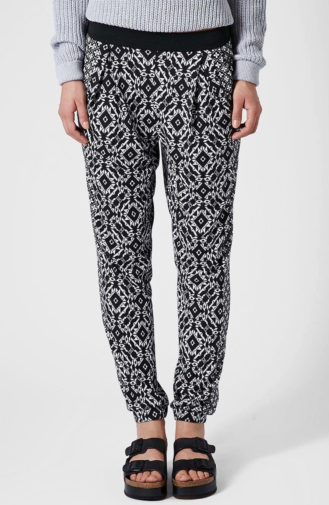 Alternate Image 1 Selected - Topshop Mixed Print Tapered Pants (Regular & Petite)
