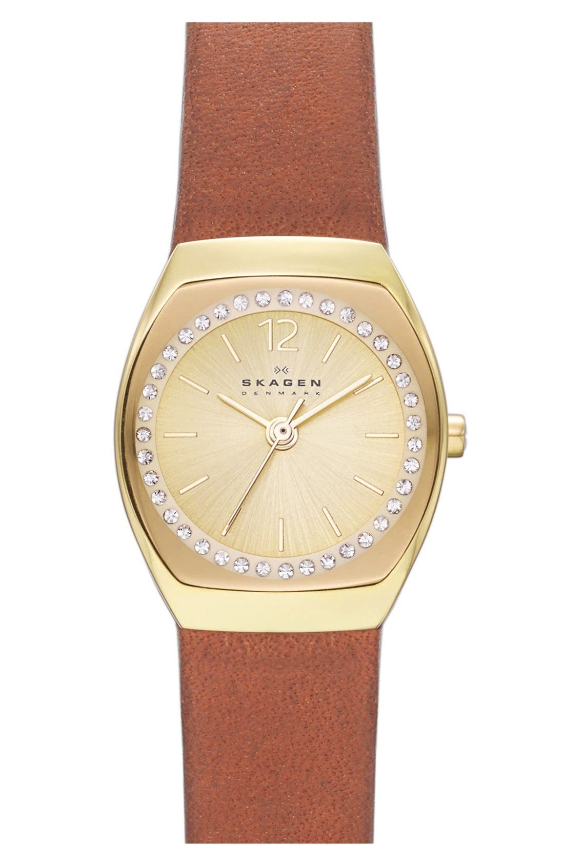 Main Image - Skagen 'Asta' Crystal Bezel Leather Strap Watch, 22mm (Nordstrom Exclusive)