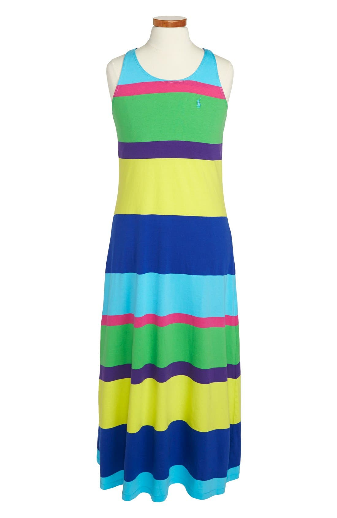 Main Image - Ralph Lauren Rugby Stripe Sleeveless Cotton Maxi Dress (Big Girls)