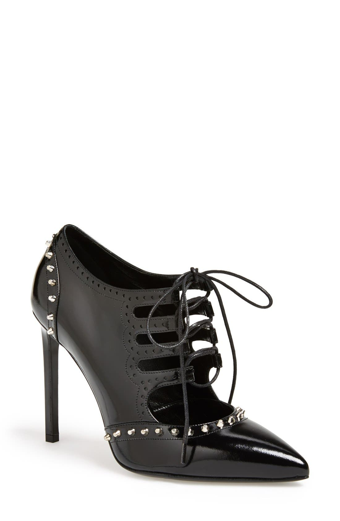 Alternate Image 1 Selected - Saint Laurent Lace-Up Pointed Toe Bootie (Women)