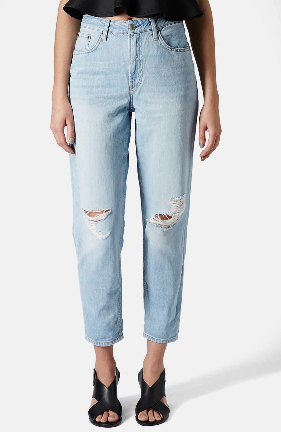 Alternate Image 1 Selected - Topshop Moto 'Hayden' Ripped Boyfriend Jeans (Bleach Stone)