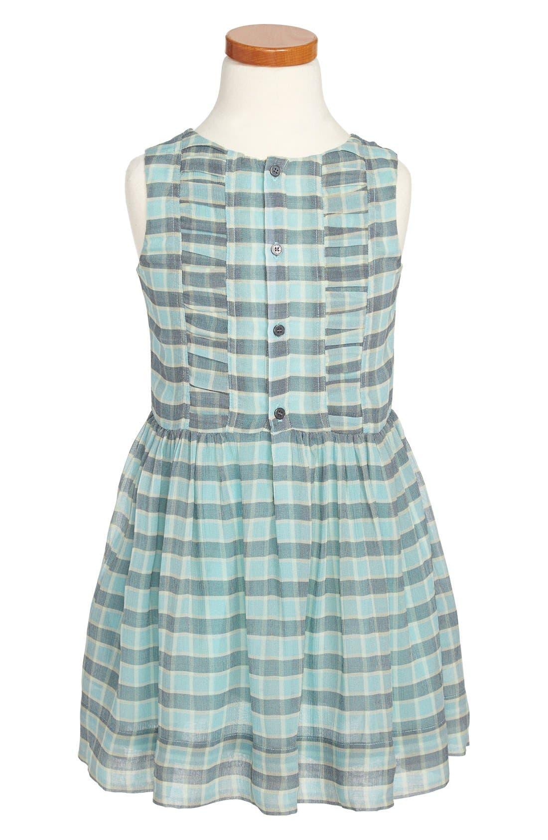 Alternate Image 1 Selected - Burberry Ruched Silk Dress (Little Girls & Big Girls)