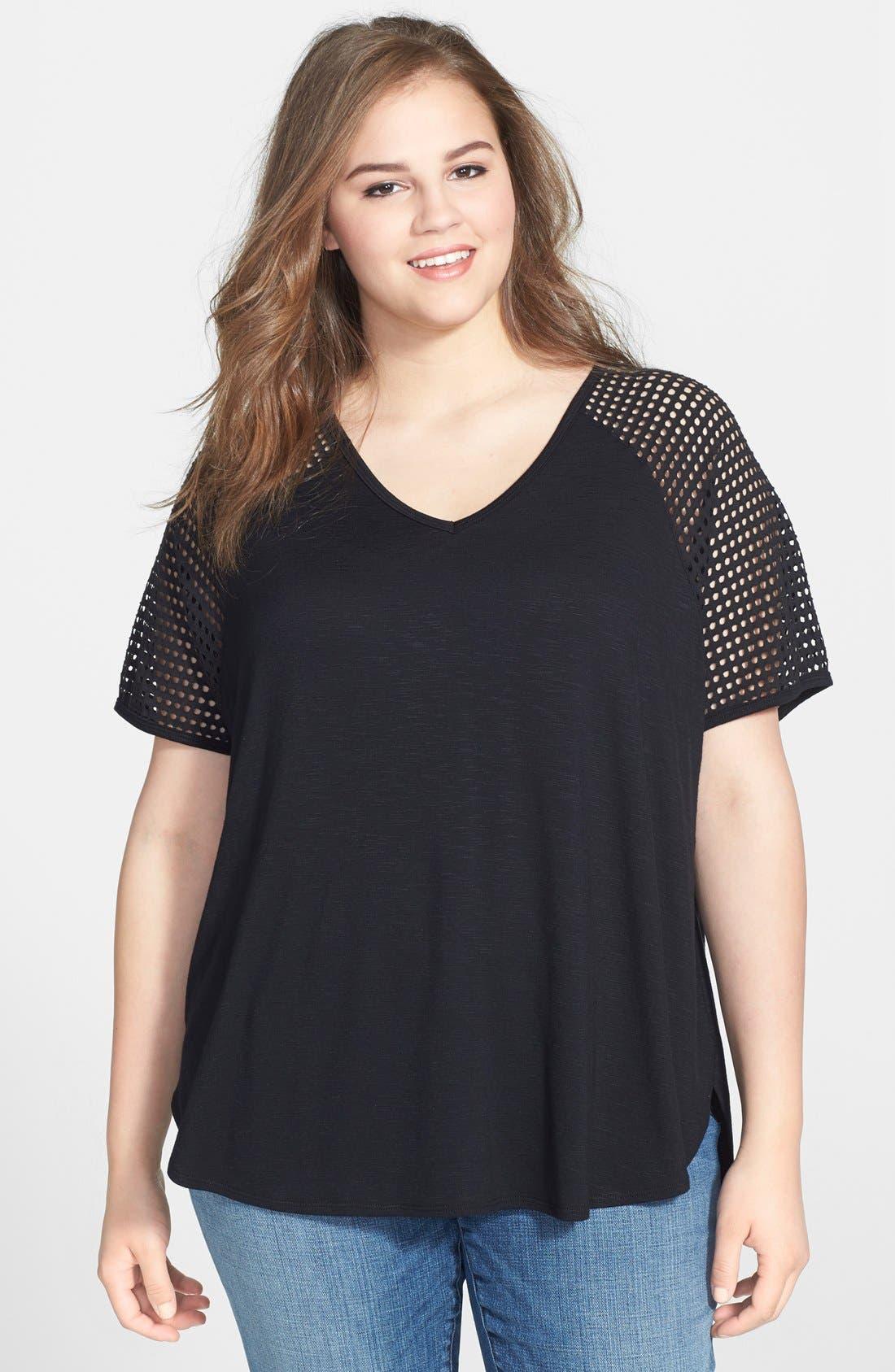 Main Image - Sejour 'Reese' Perforated Sleeve Slub Knit Tee (Plus Size)