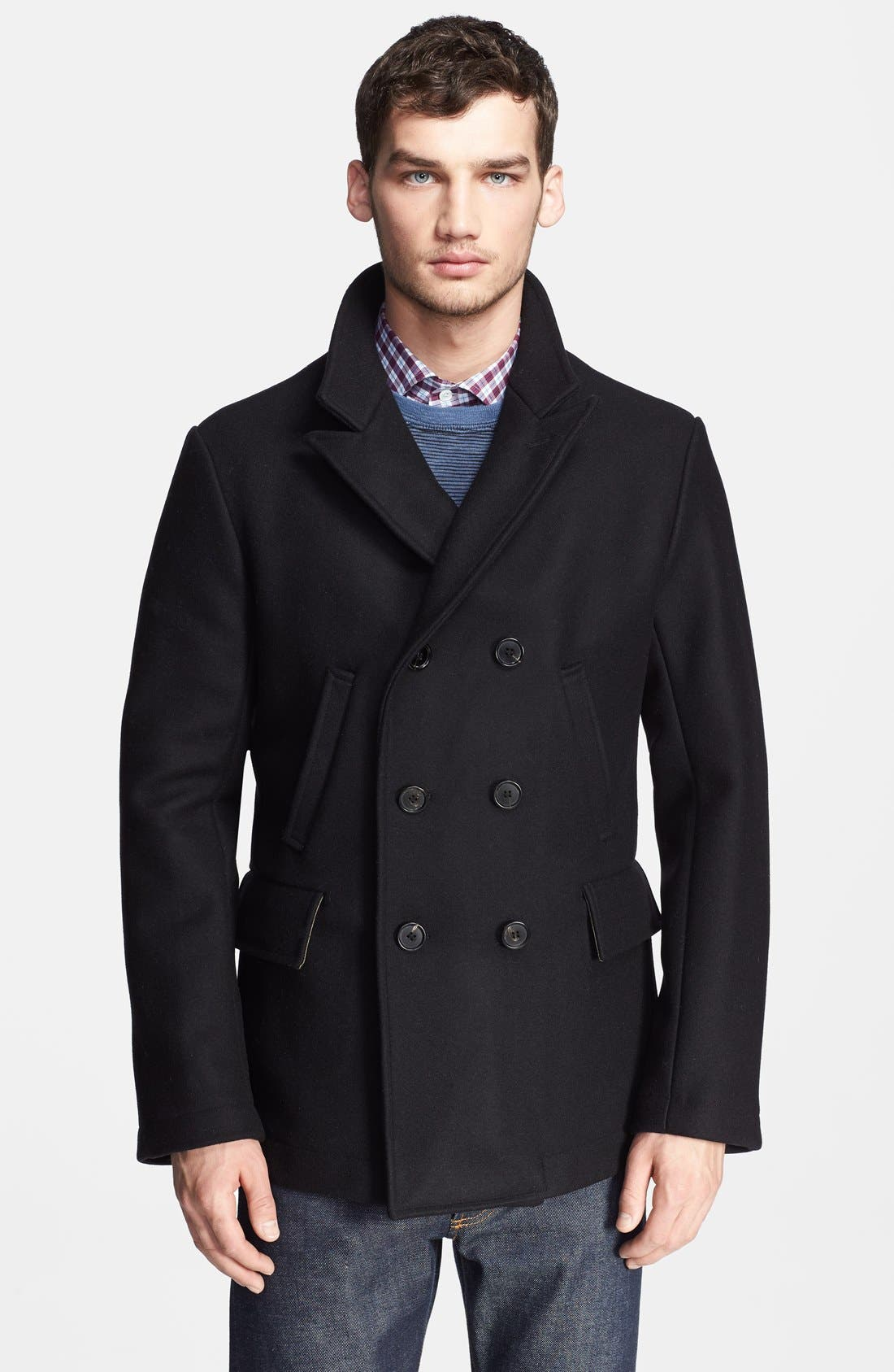 Main Image - Billy Reid 'Bond' Wool Blend Peacoat