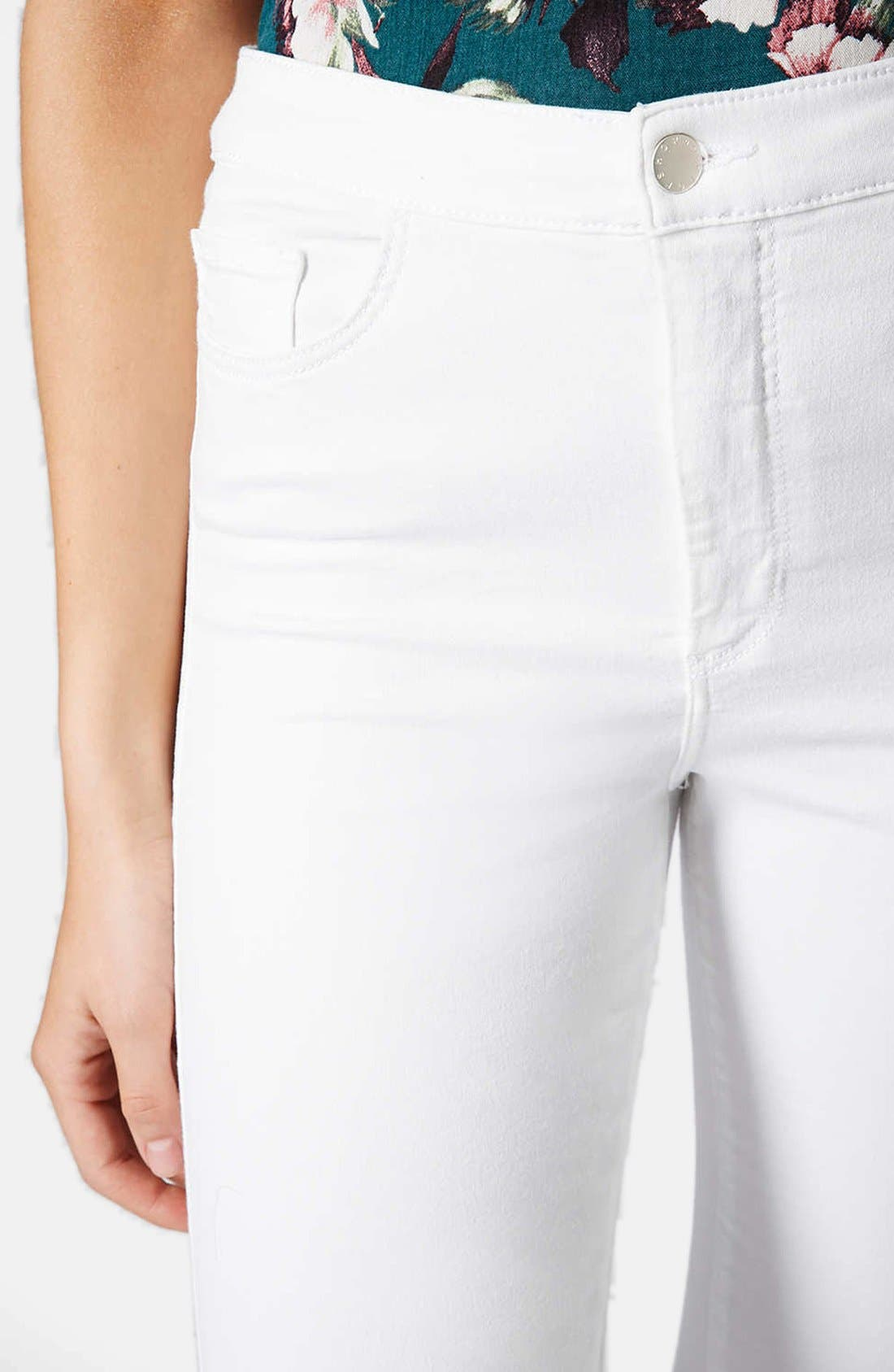 Alternate Image 4  - Topshop Moto 'Joni' High Rise Crop Skinny Jeans (White)
