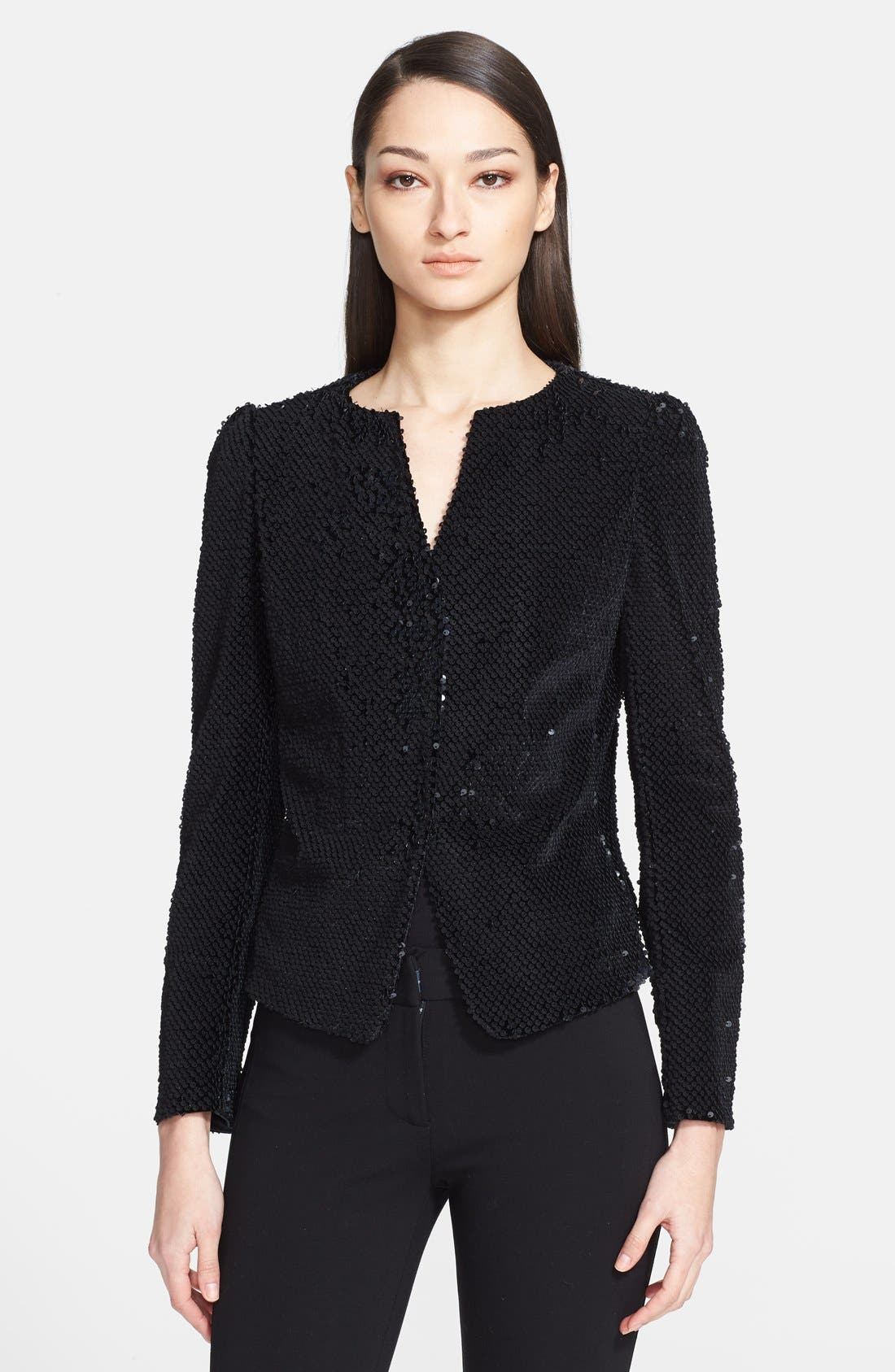 Main Image - Armani Collezioni Paillette Velvet Jacket