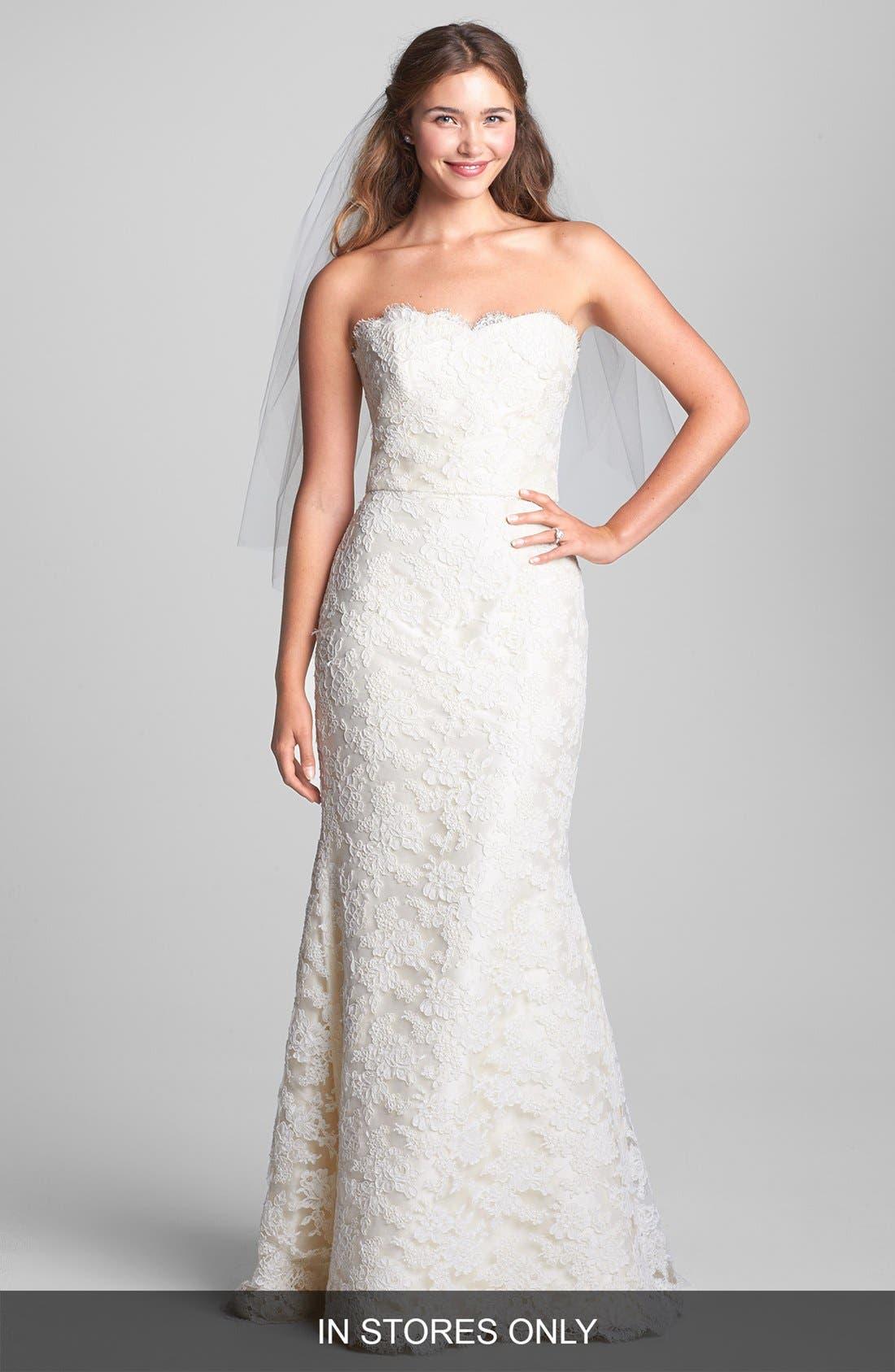 Alternate Image 1 Selected - Caroline DeVillo 'Eliza' Strapless Alençon Lace Mermaid Dress (In Stores Only)