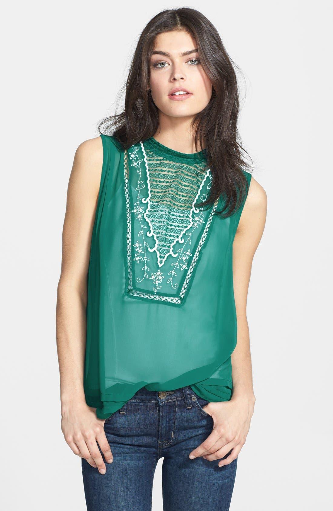 Main Image - Hinge® Embroidered Bib Sleeveless Blouse