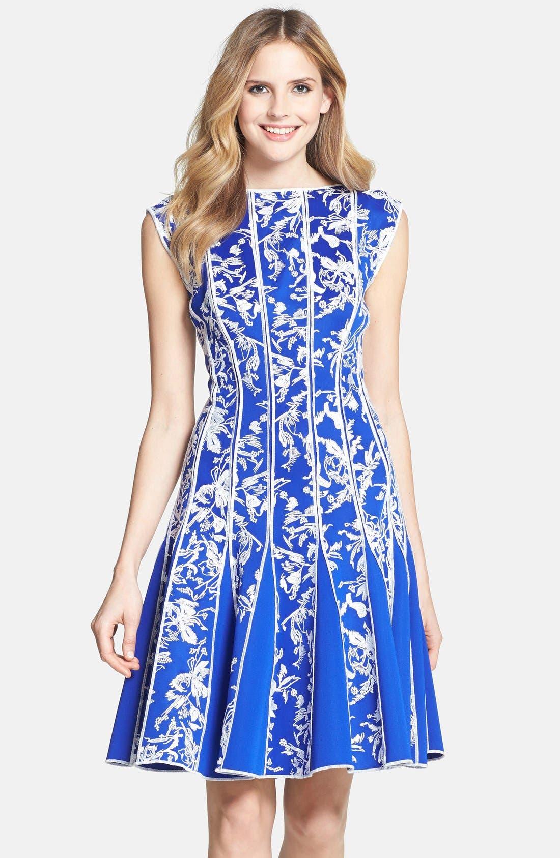Main Image - Tadashi Shoji Embroidered Neoprene Fit & Flare Dress