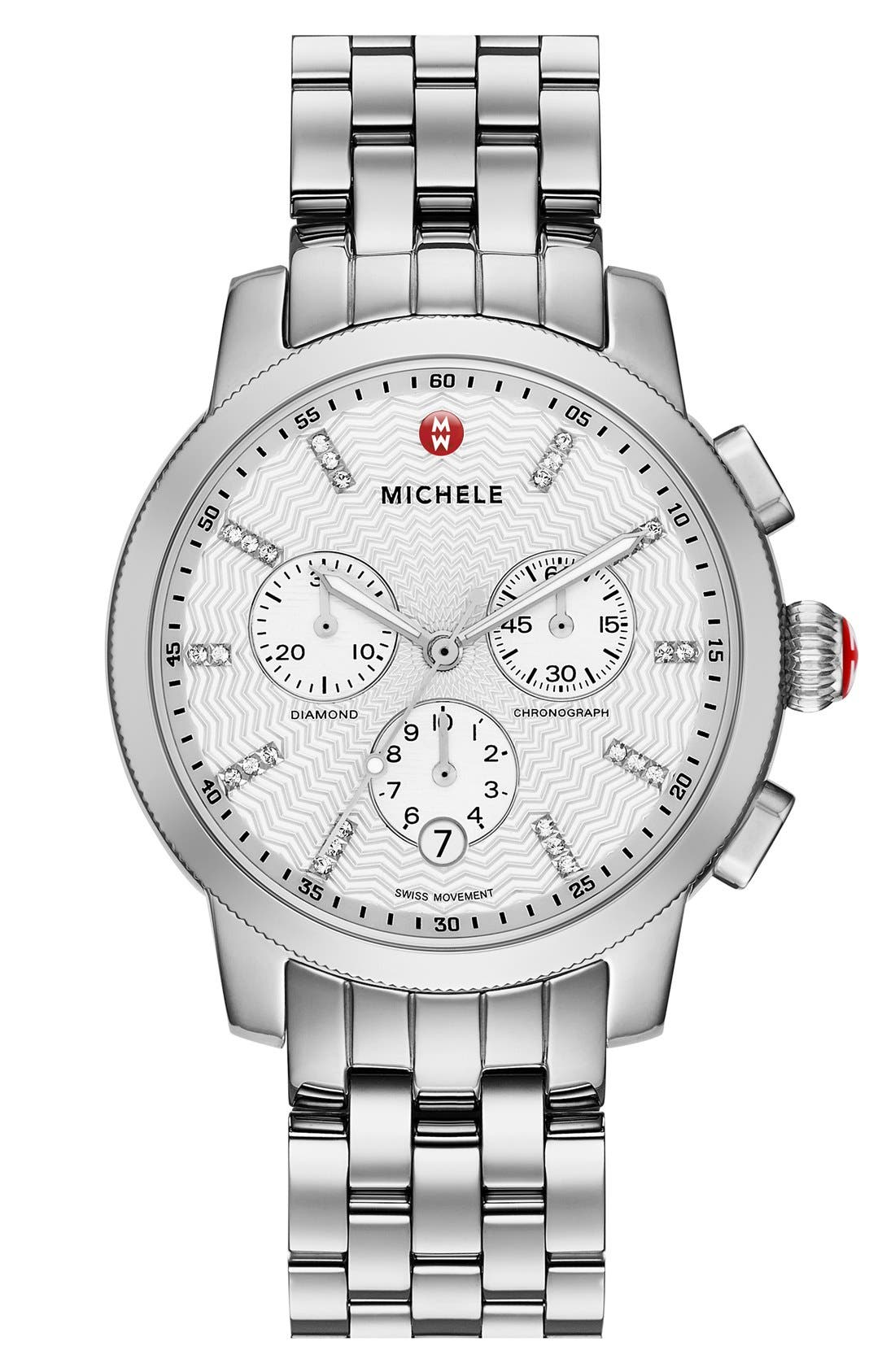 Alternate Image 1 Selected - MICHELE 'Uptown' Diamond Dial Chronograph Watch Case & Bracelet, 39mm