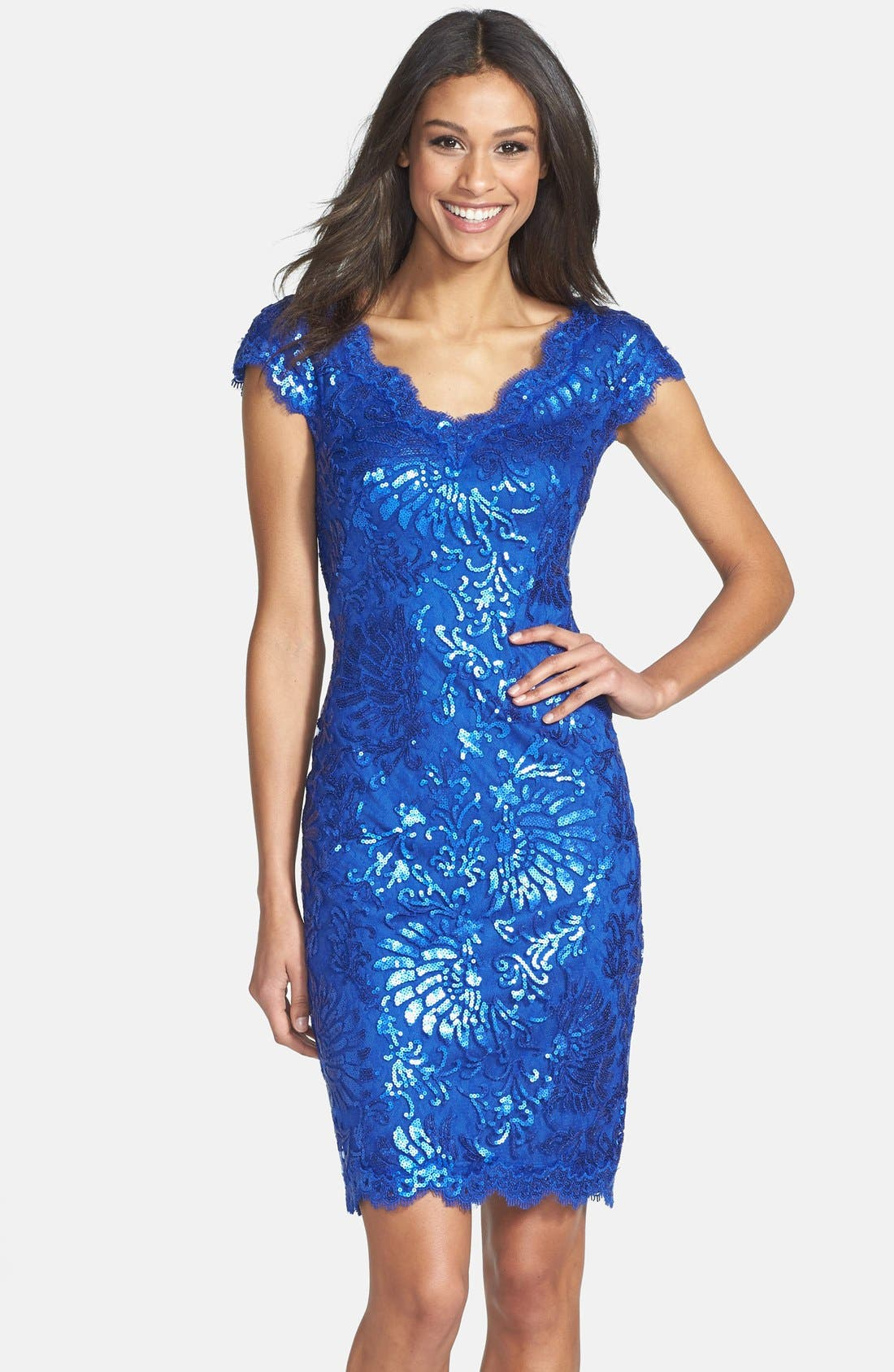 Main Image - Tadashi Shoji Sequin Lace Sheath Dress