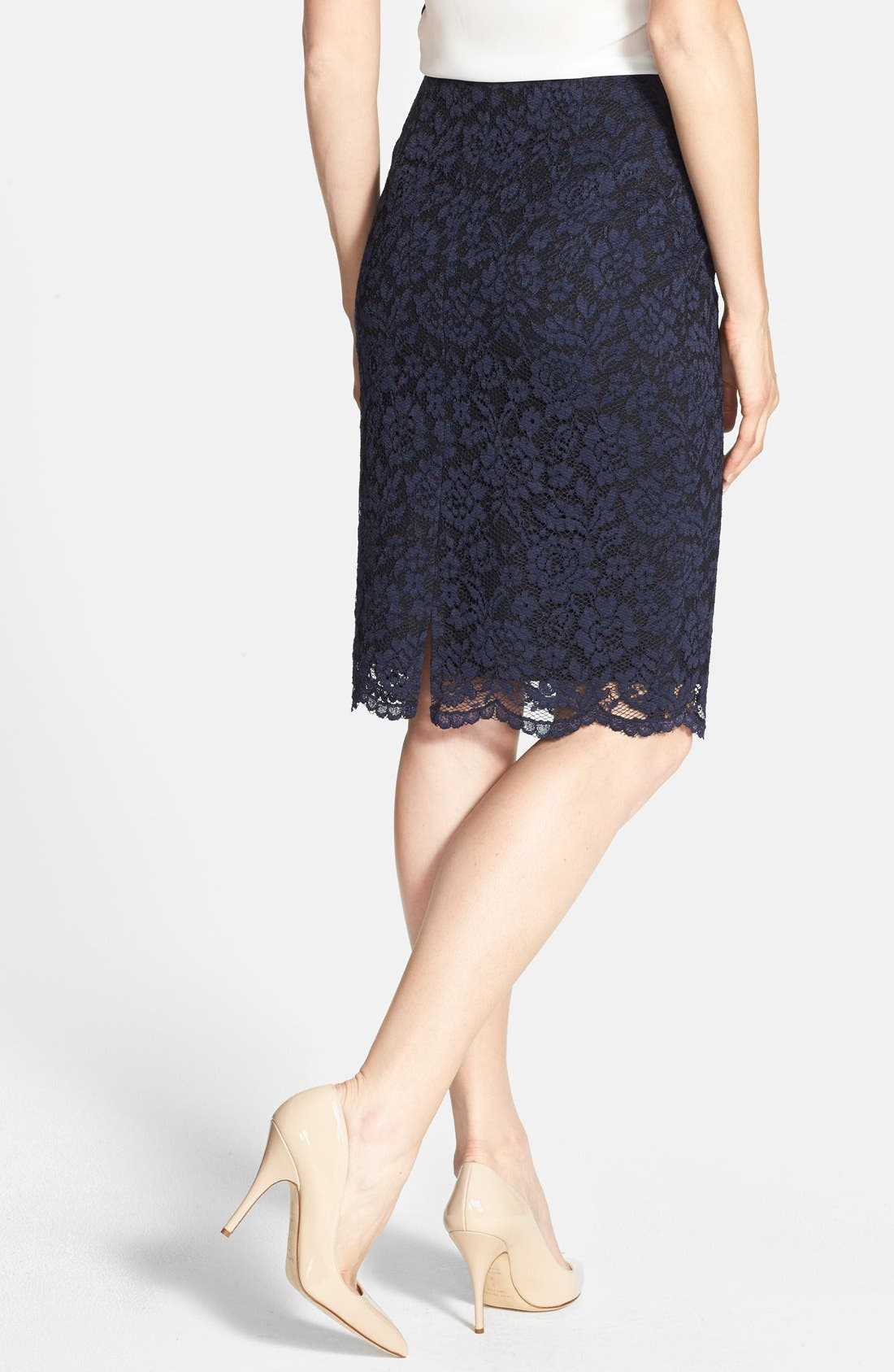 Alternate Image 2  - Vince Camuto Lace Overlay Back Zip Skirt (Regular & Petite)
