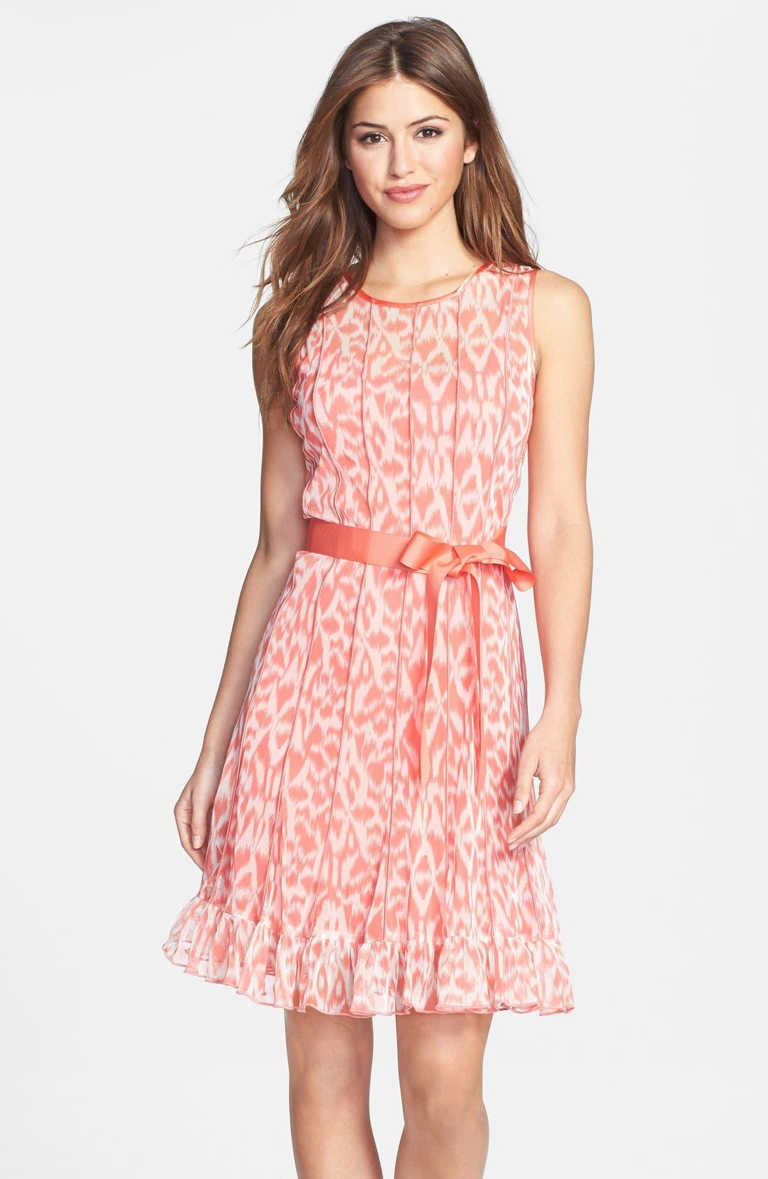Main Image - Eliza J Print Pintuck Chiffon Fit & Flare Dress (Petite)