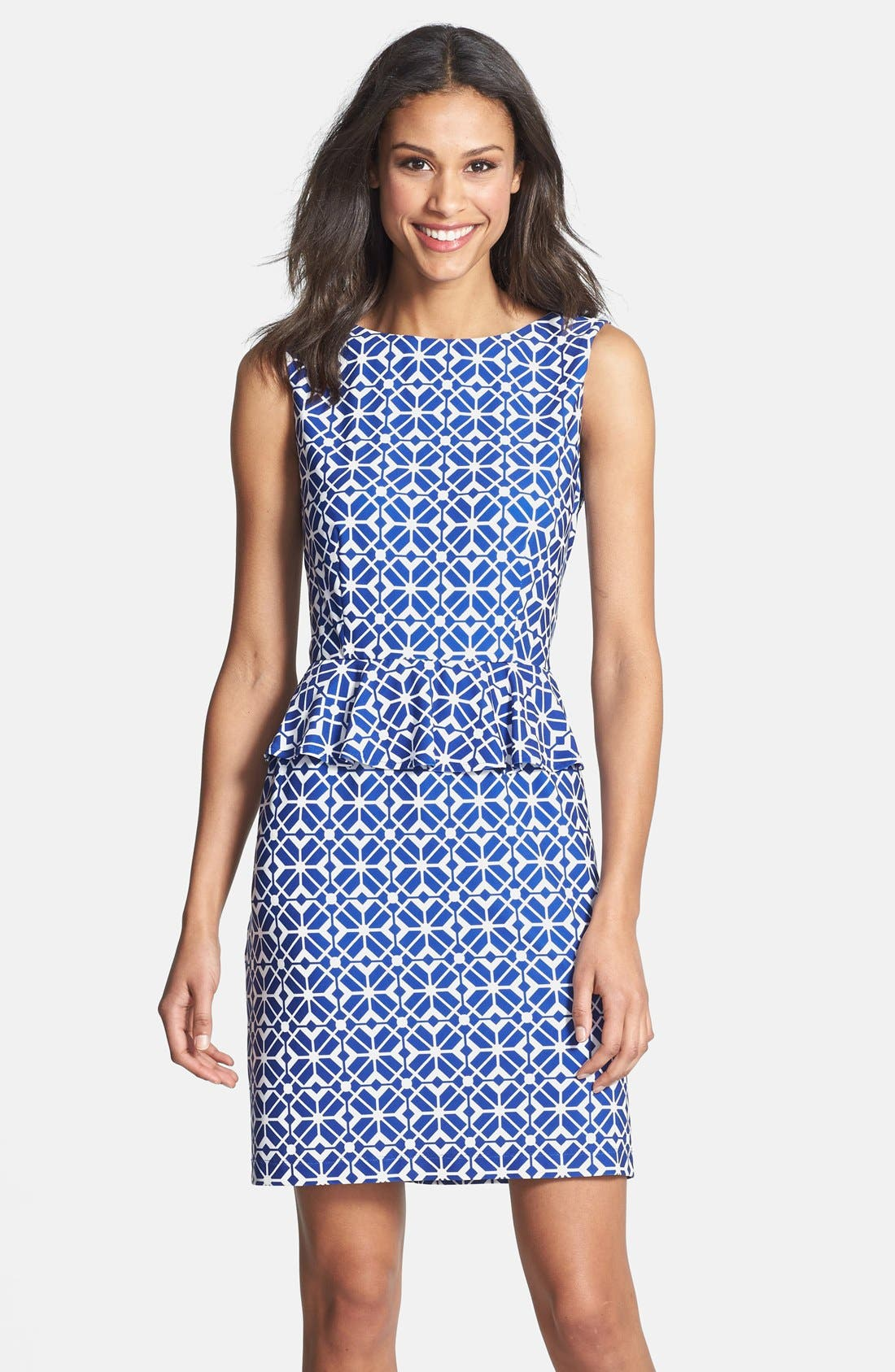 Main Image - Donna Morgan Print Jersey Peplum Sheath Dress