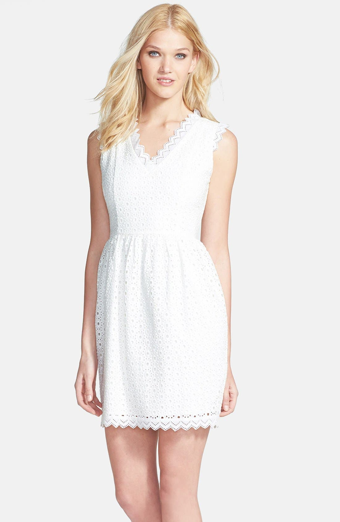 Alternate Image 1 Selected - MM Couture Eyelet Cotton Fit & Flare Dress