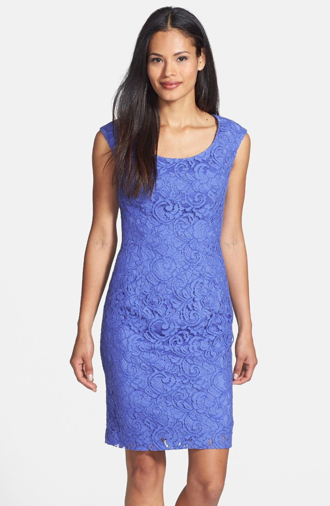Main Image - Adrianna Papell Embroidered Lace Overlay Sheath Dress (Regular & Petite)