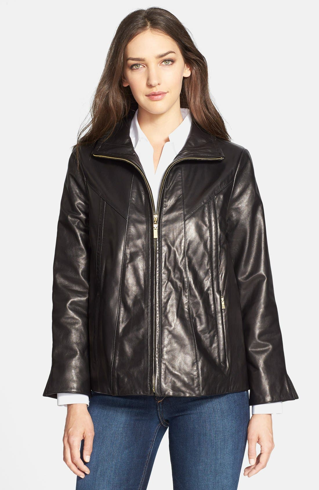 Alternate Image 4  - Ellen Tracy A-Line Lambskin Leather Jacket