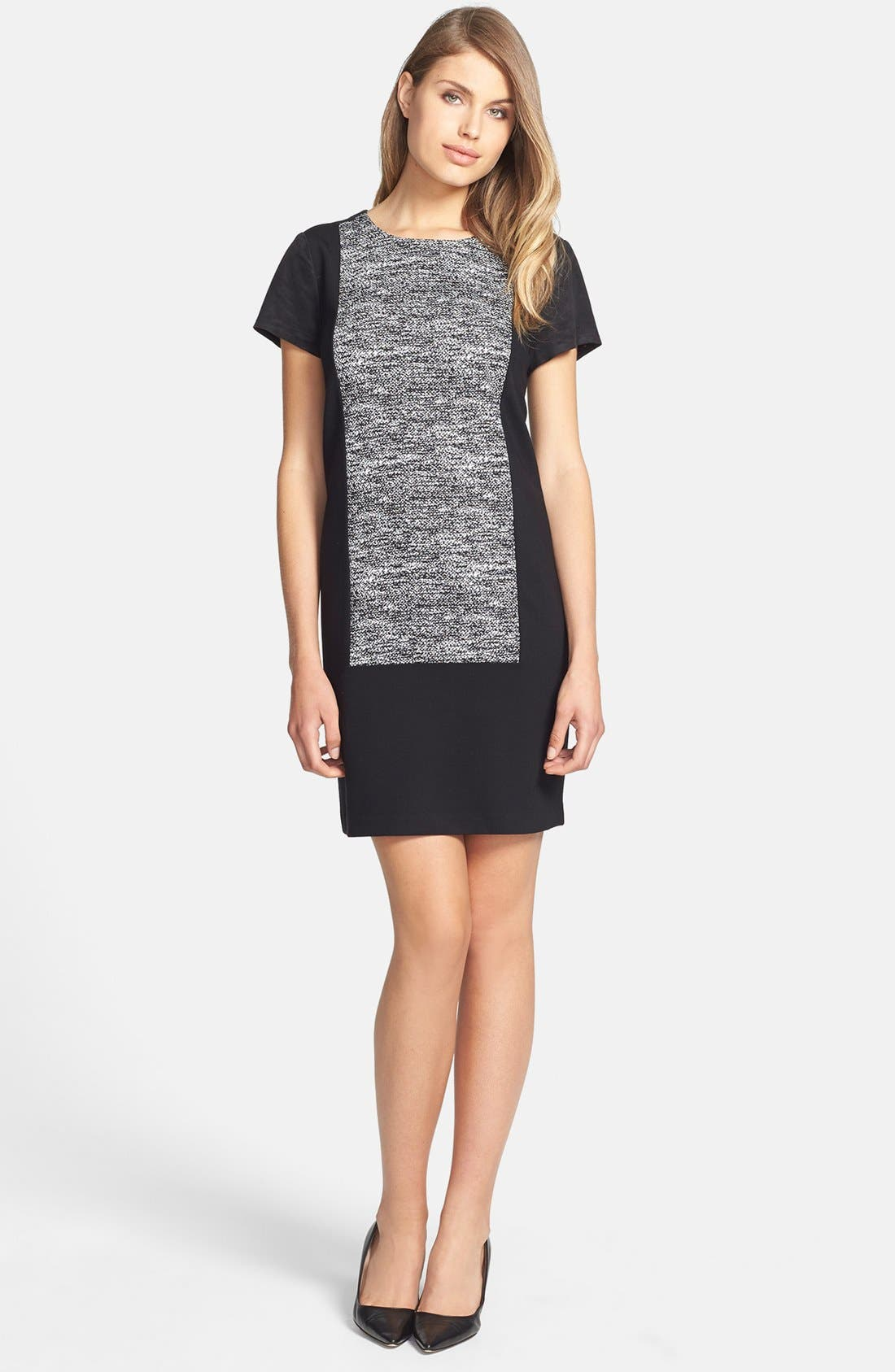 Main Image - DKNYC Colorblock Shift Dress with Faux Suede Trim