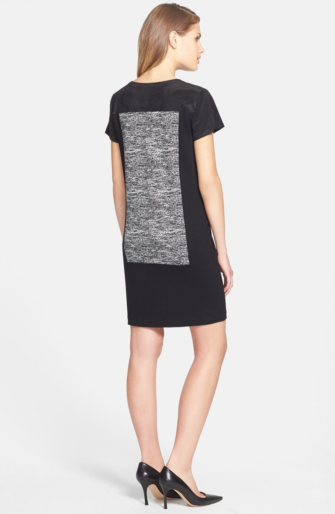 Alternate Image 2  - DKNYC Colorblock Shift Dress with Faux Suede Trim