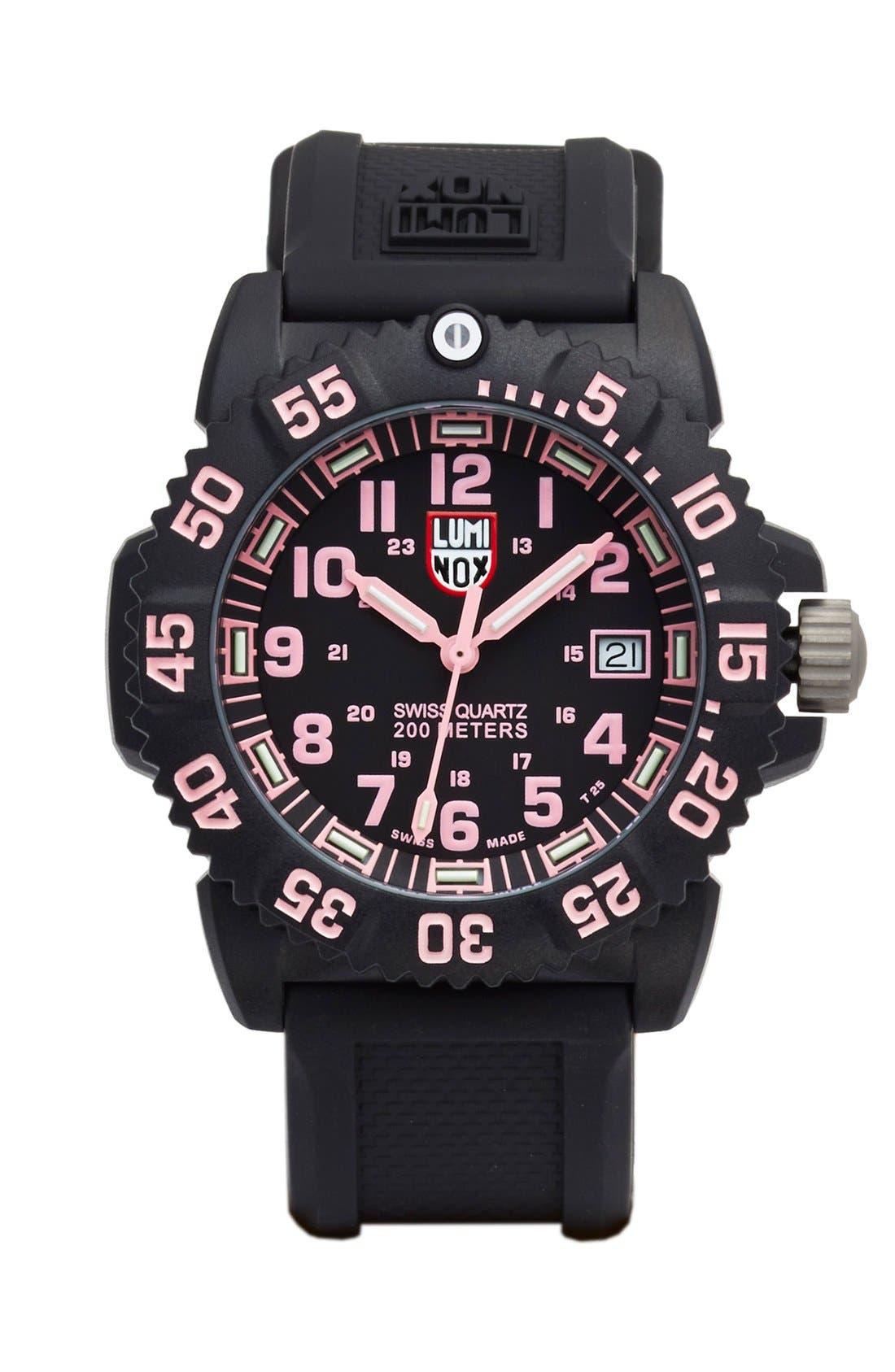 Main Image - Luminox 'Sea - Navy SEAL Colormark' Silicone Strap Watch, 38mm