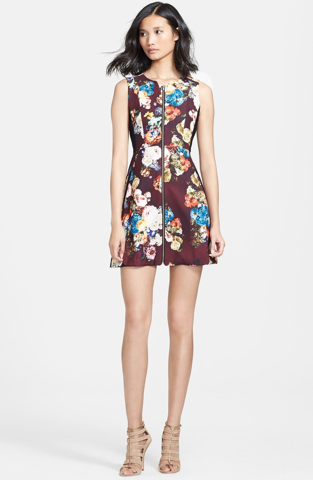 Alternate Image 1 Selected - Mcginn 'Emily' Zip Front Print Fit & Flare Dress