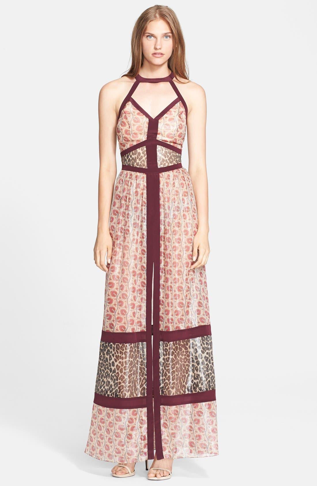Main Image - Tamara Mellon Banded Metallic Silk Blend Georgette Gown