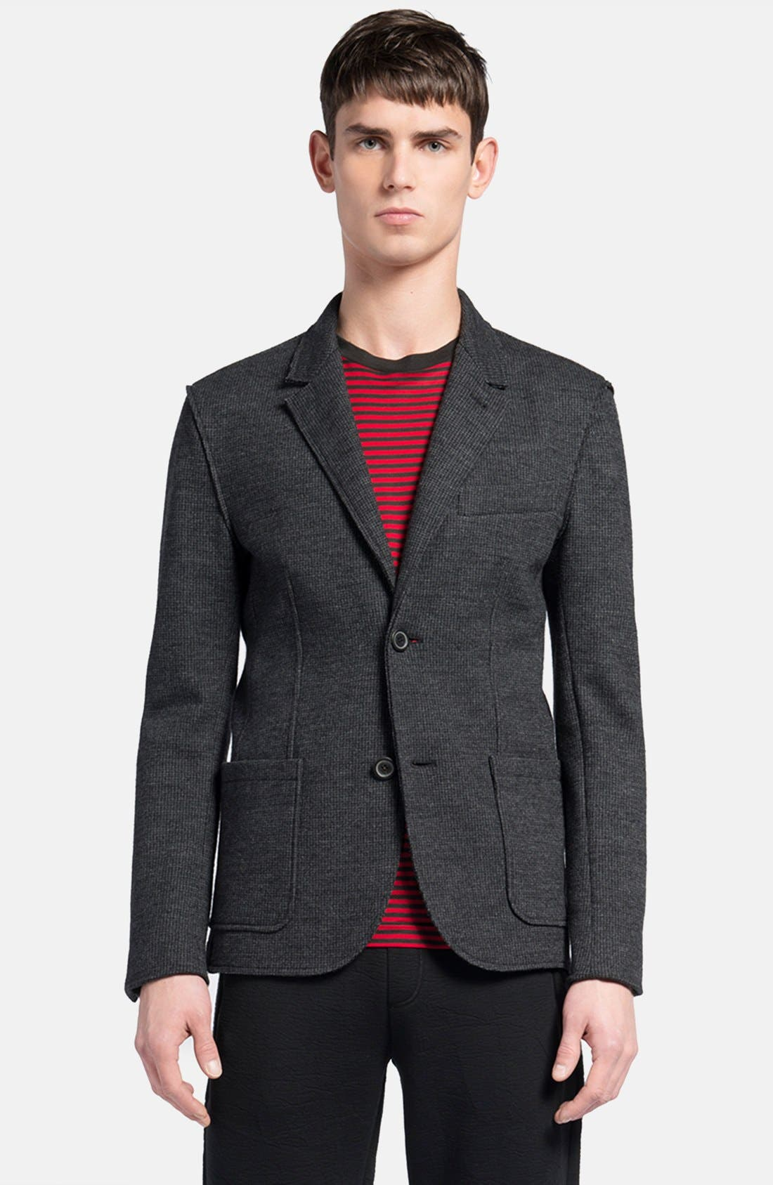 Alternate Image 1 Selected - Lanvin Grey Deconstructed Houndstooth Jersey Wool Sport Coat