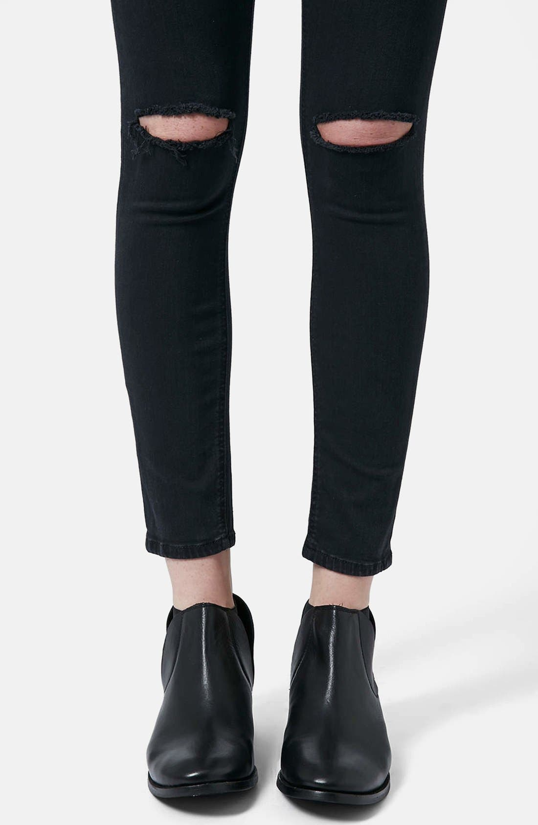 Alternate Image 4  - Topshop Moto 'Jamie' Dark Wash Ripped Slim Jeans (Black) (Short & Regular)