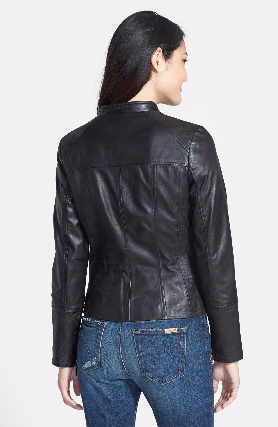 Alternate Image 2  - Bernardo Leather Scuba Jacket (Regular & Petite)
