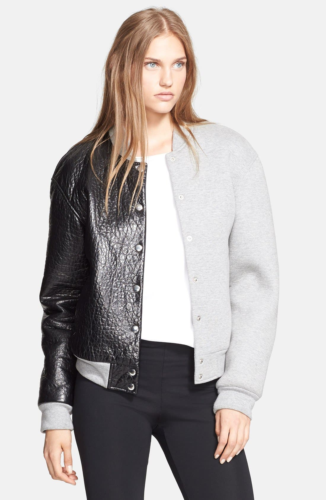 Alternate Image 1 Selected - T by Alexander Wang Leather & Neoprene Varsity Jacket