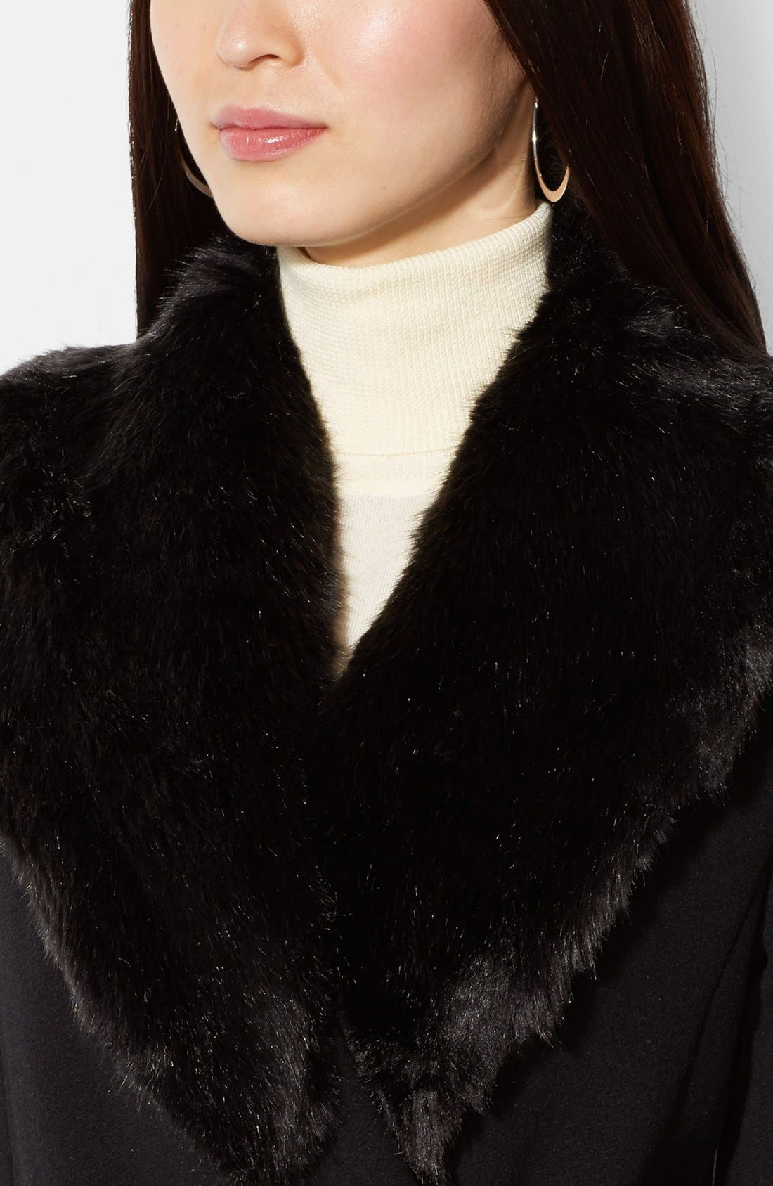 Alternate Image 3  - Lauren Ralph Lauren Faux Fur Trim Wool Blend Wrap Coat (Online Only)