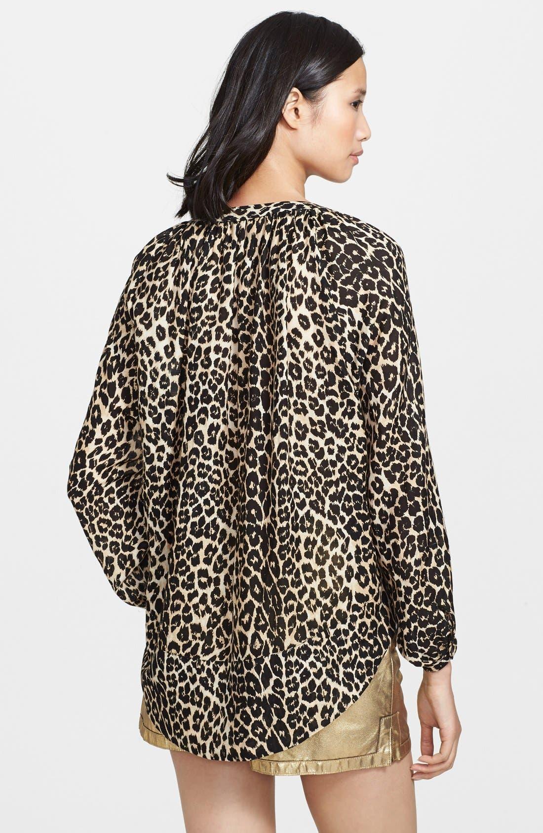 Alternate Image 2  - Tamara Mellon Leopard Print Peasant Top