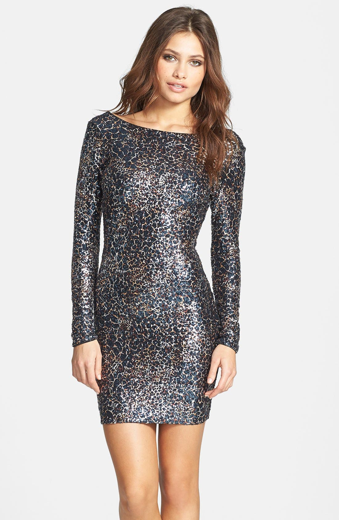 Main Image - Dress the Population 'Lola' Foiled Sequin Body-Con Dress
