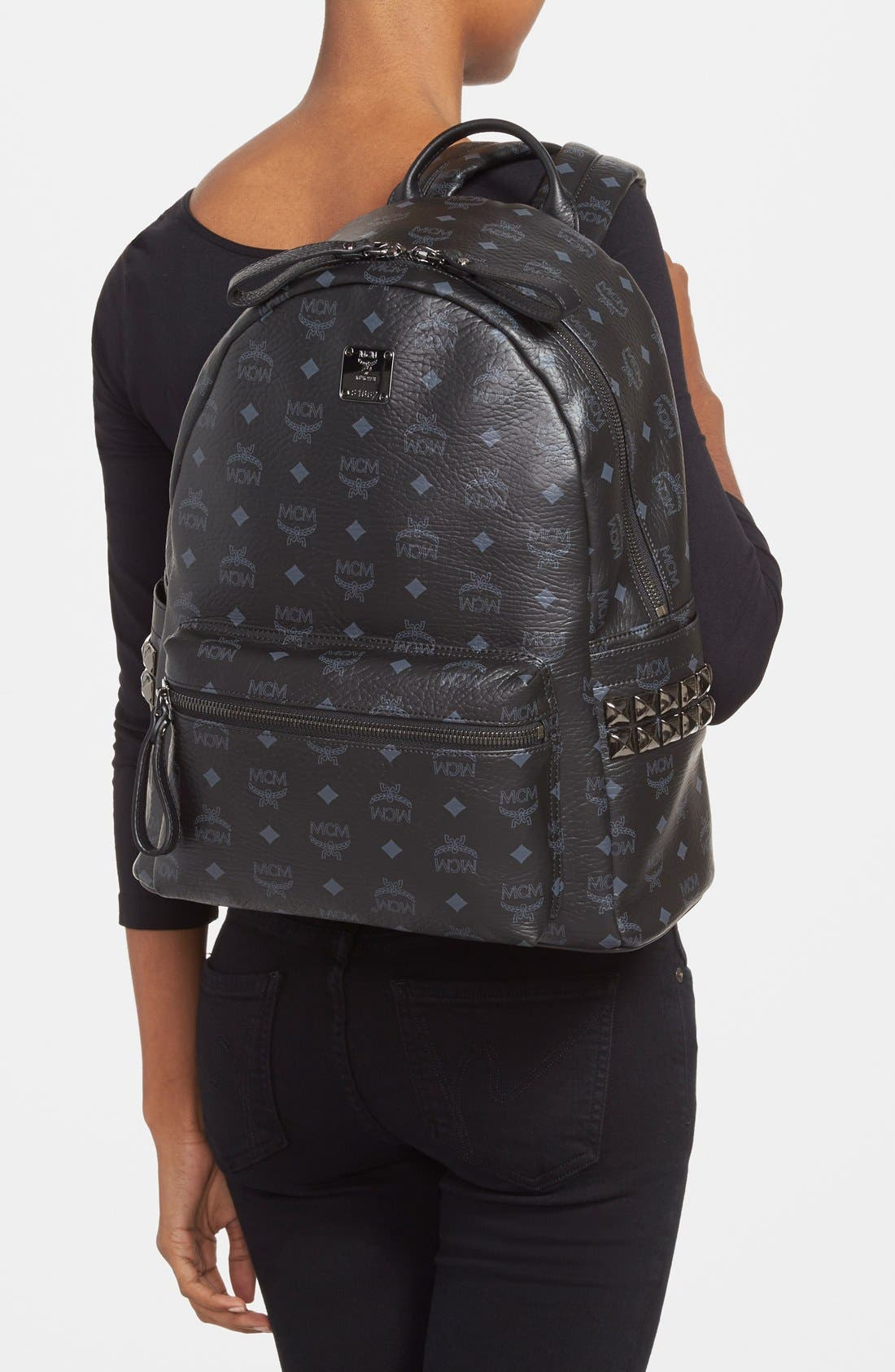 Alternate Image 2  - MCM 'Medium Stark - Visetos' Studded Logo Print Backpack