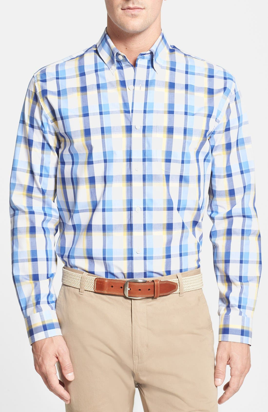Main Image - Cutter & Buck 'Pierce' Classic Fit Plaid Poplin Sport Shirt (Big & Tall)