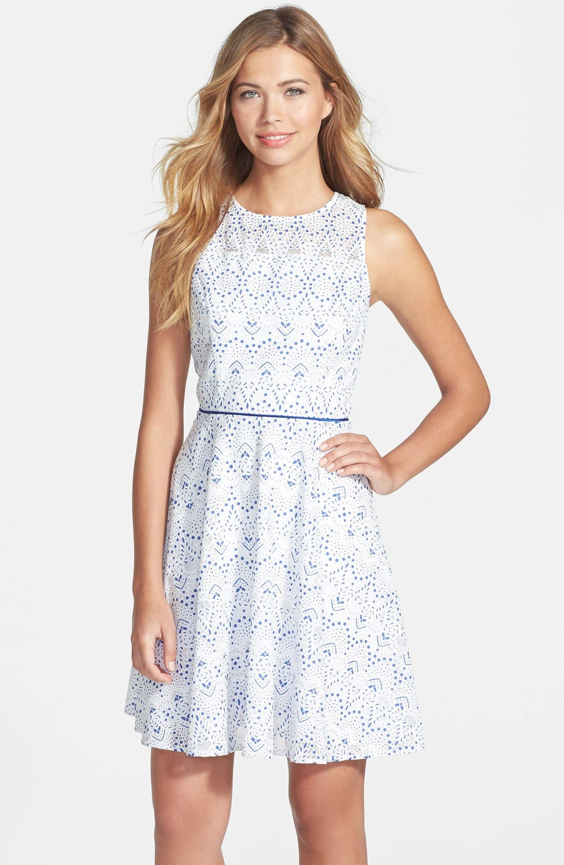 Main Image - Maia Print Lace Fit & Flare Dress