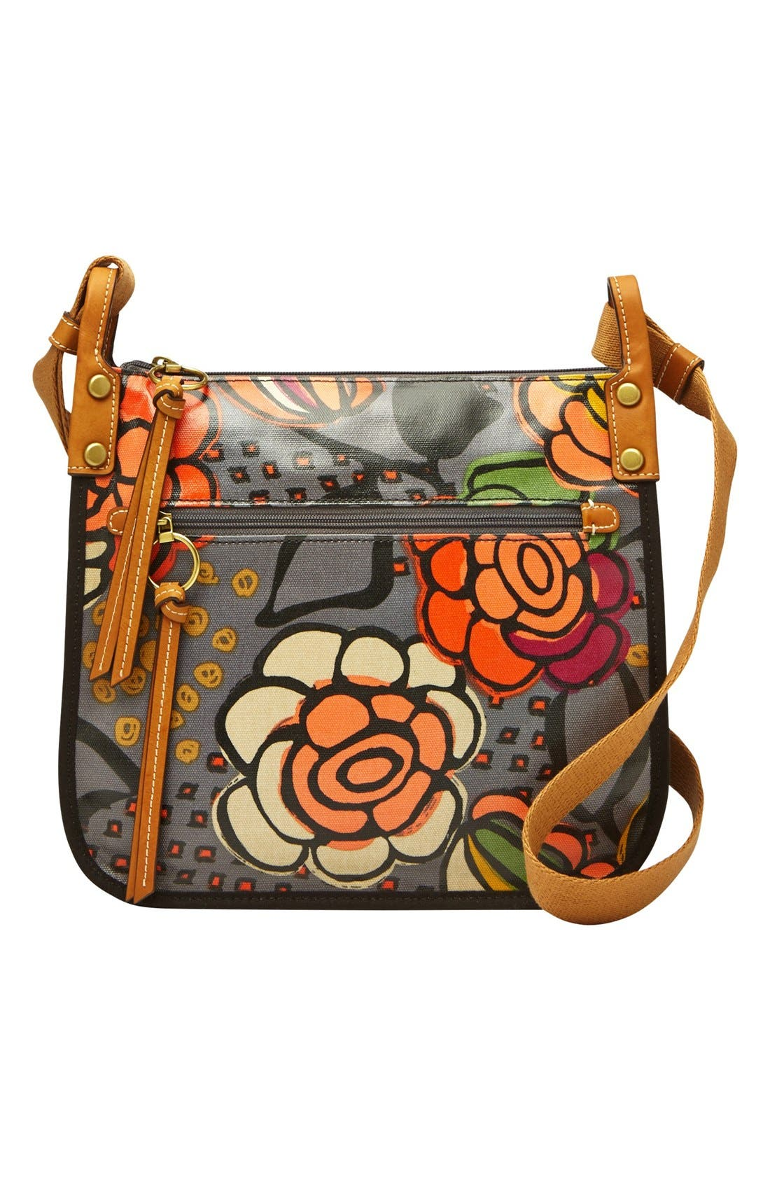 Alternate Image 1 Selected - Fossil 'Key-Per' Print Coated Canvas Crossbody Bag