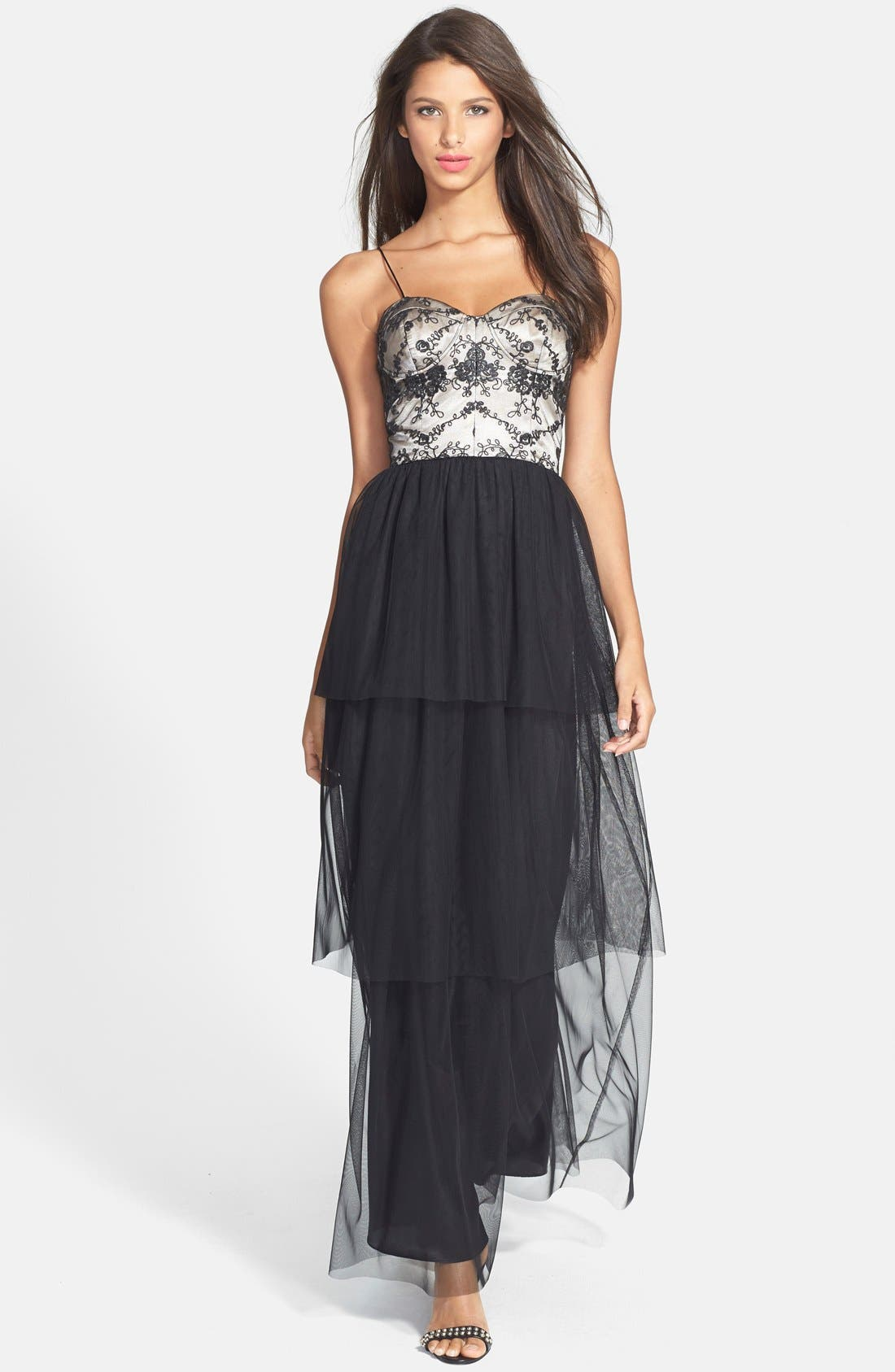 Alternate Image 1 Selected - Hailey by Adrianna Papell Bustier Tiered Tulle Gown