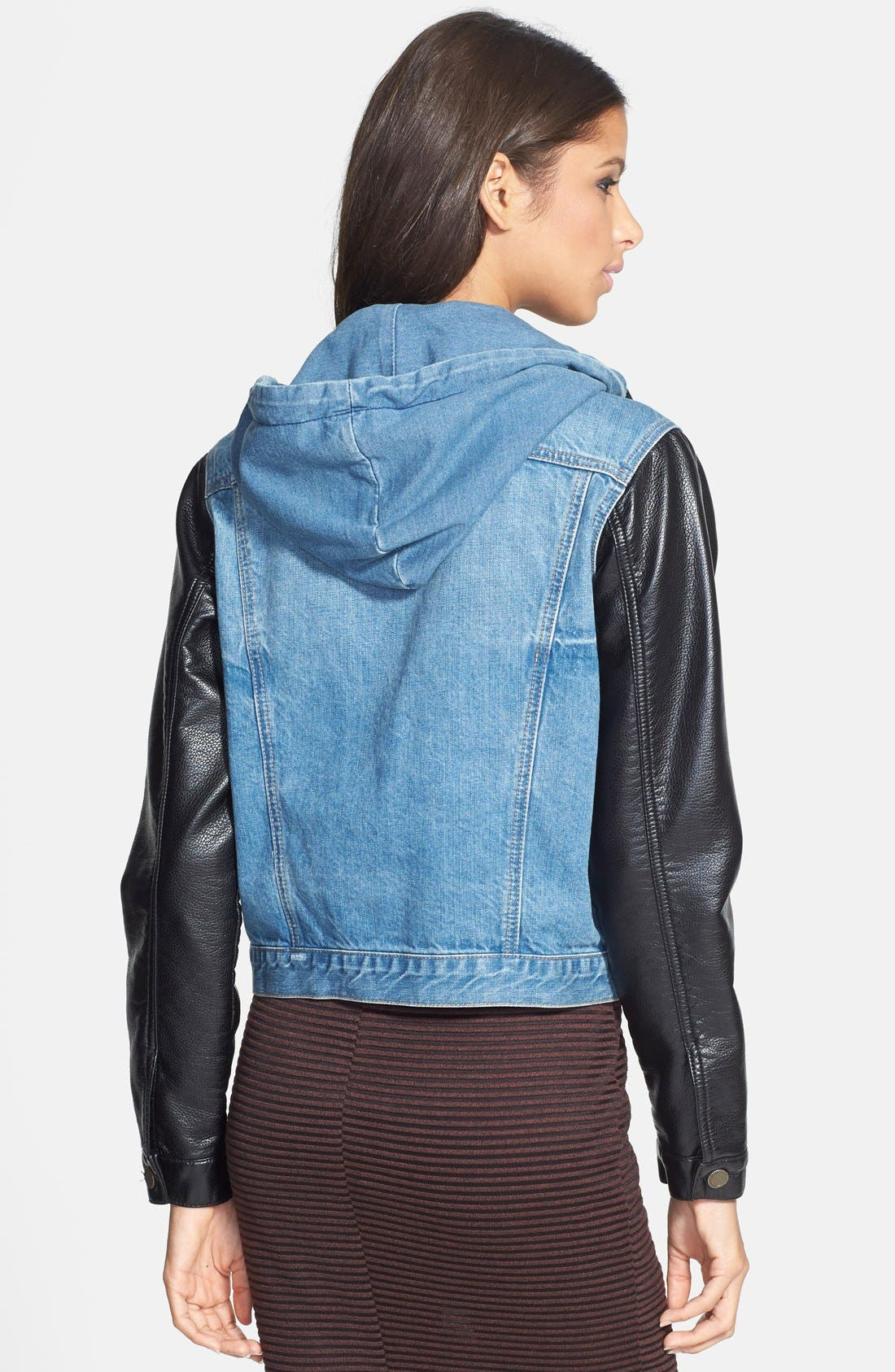 Alternate Image 2  - BLANKNYC Mixed Media Denim Jacket