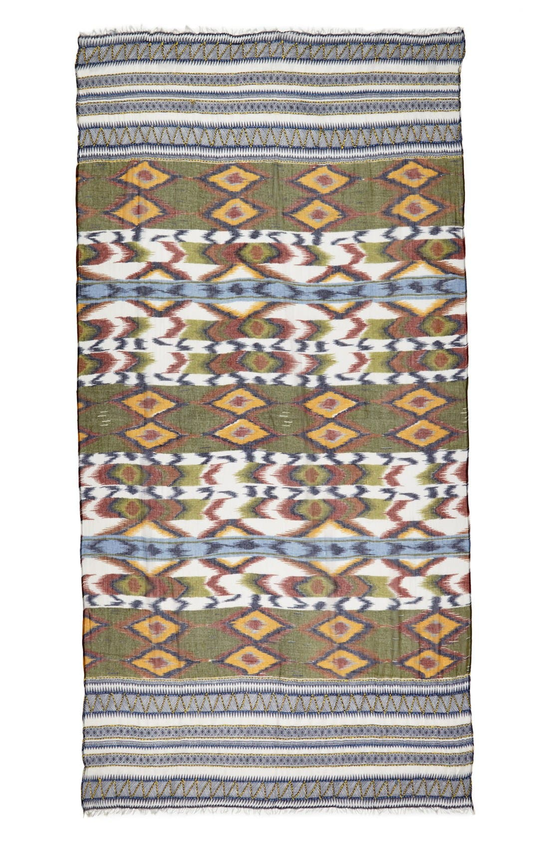 Alternate Image 2  - Roffe Accessories Ikat Embroidered Scarf