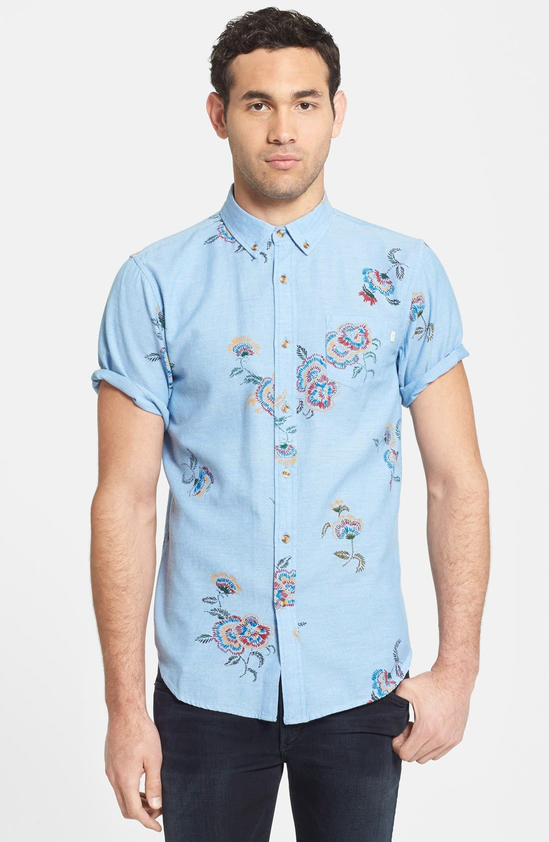 Alternate Image 1 Selected - Obey 'Patton' Short Sleeve Floral Print Woven Shirt