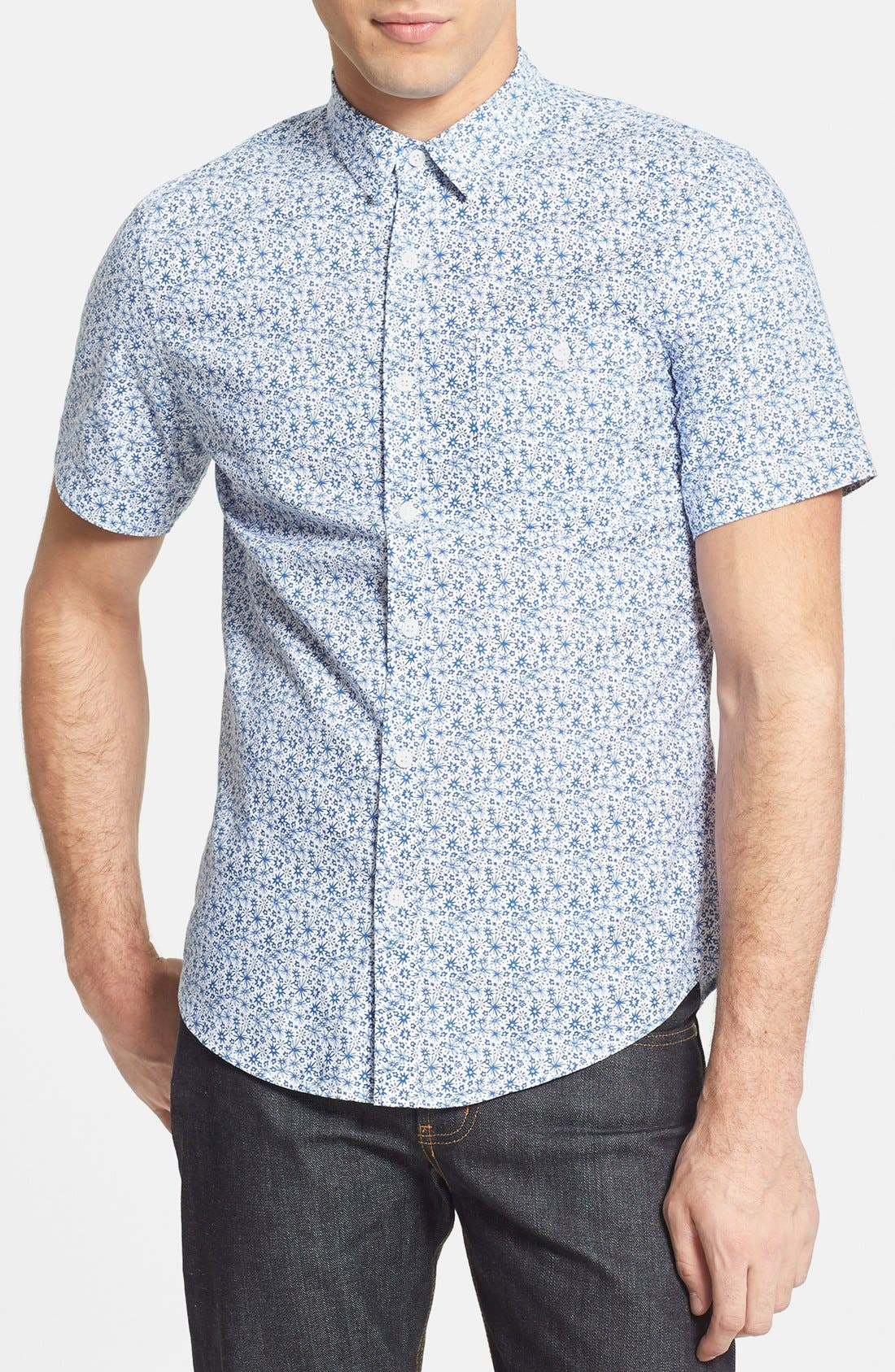 Main Image - Topman Slim Fit Short Sleeve Ditsy Floral Print Shirt