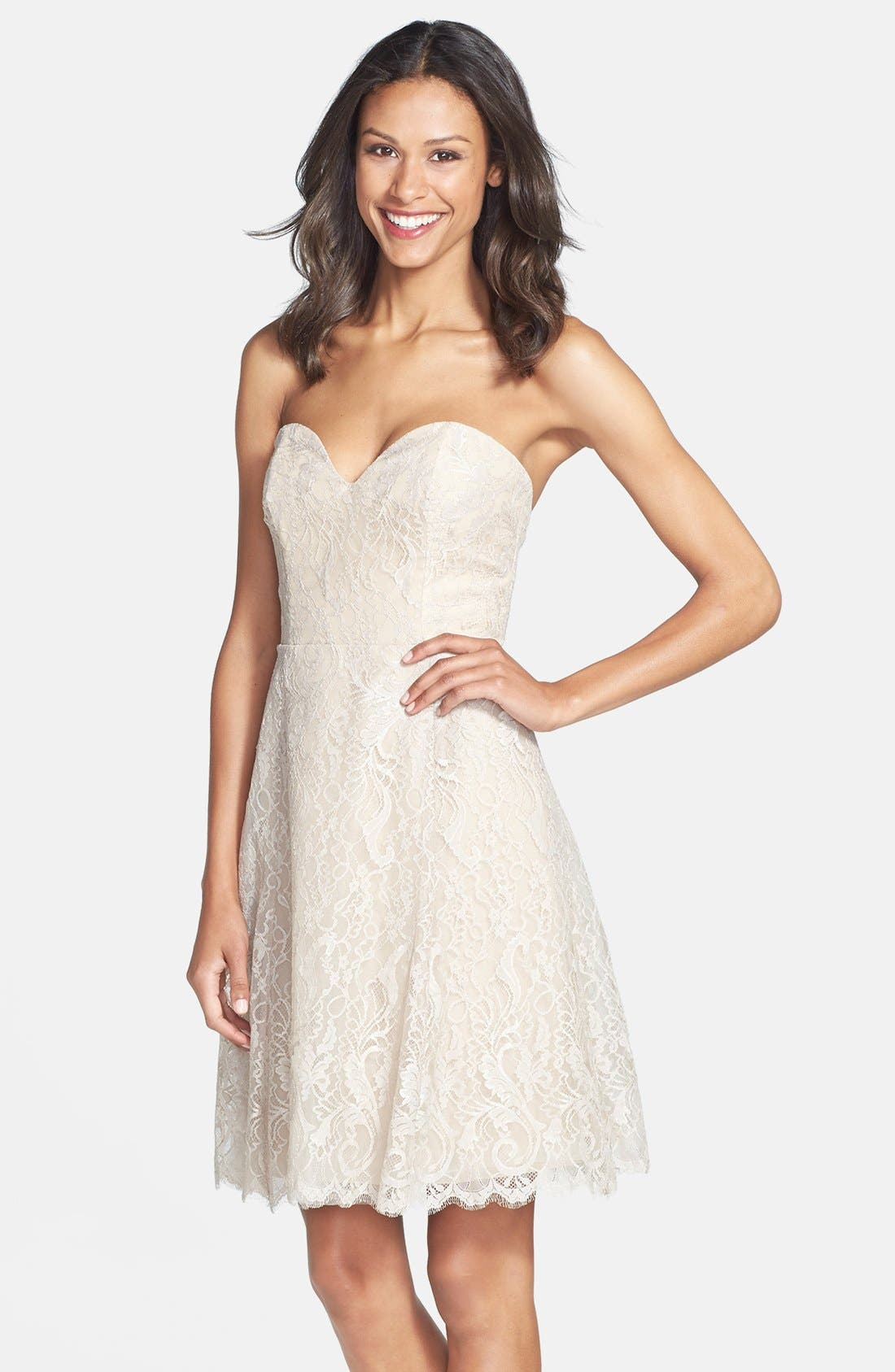 Alternate Image 1 Selected - Jim Hjelm Occasions Strapless Lace A-Line Dress