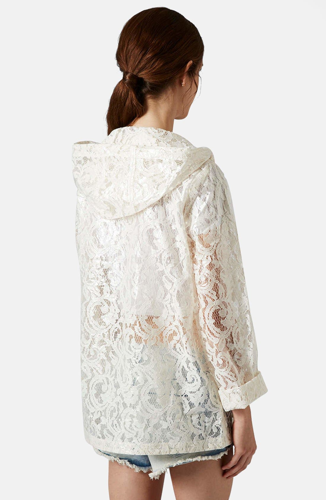Alternate Image 2  - Topshop Cream Lace Mackintosh Coat
