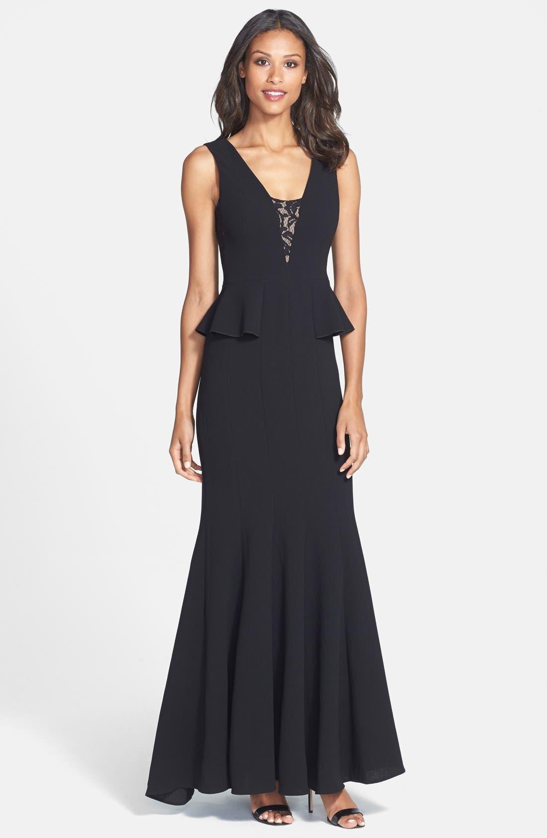 Alternate Image 1 Selected - BCBGMAXAZRIA 'Silva' Lace Inset Crepe Peplum Gown