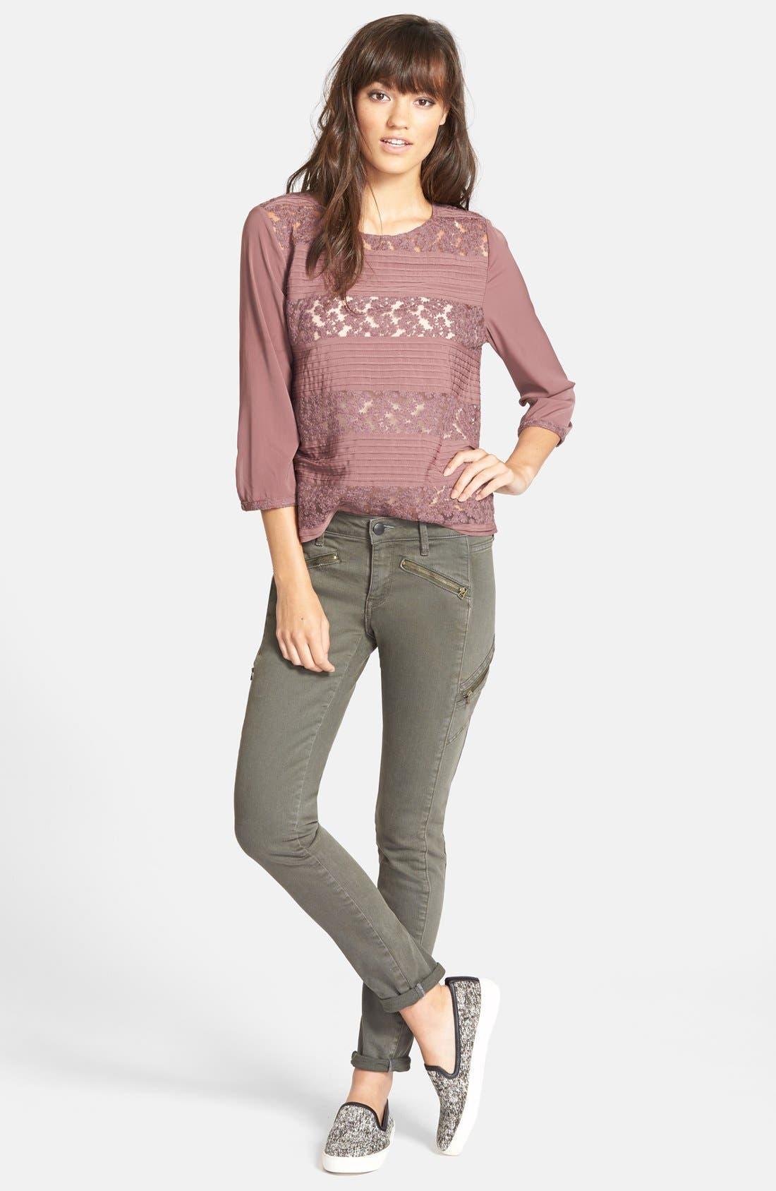 Alternate Image 4  - Treasure&Bond Zip Skinny Jeans (Olive Tarmac)