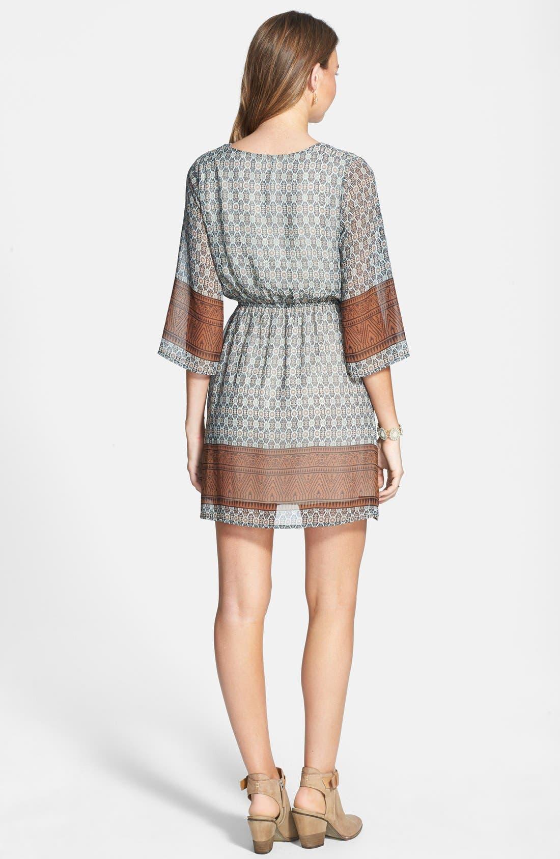 Alternate Image 2  - Everly Border Print Surplice Dress (Juniors)